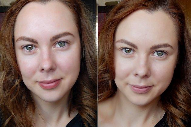 До и после нанесения крем-пудры